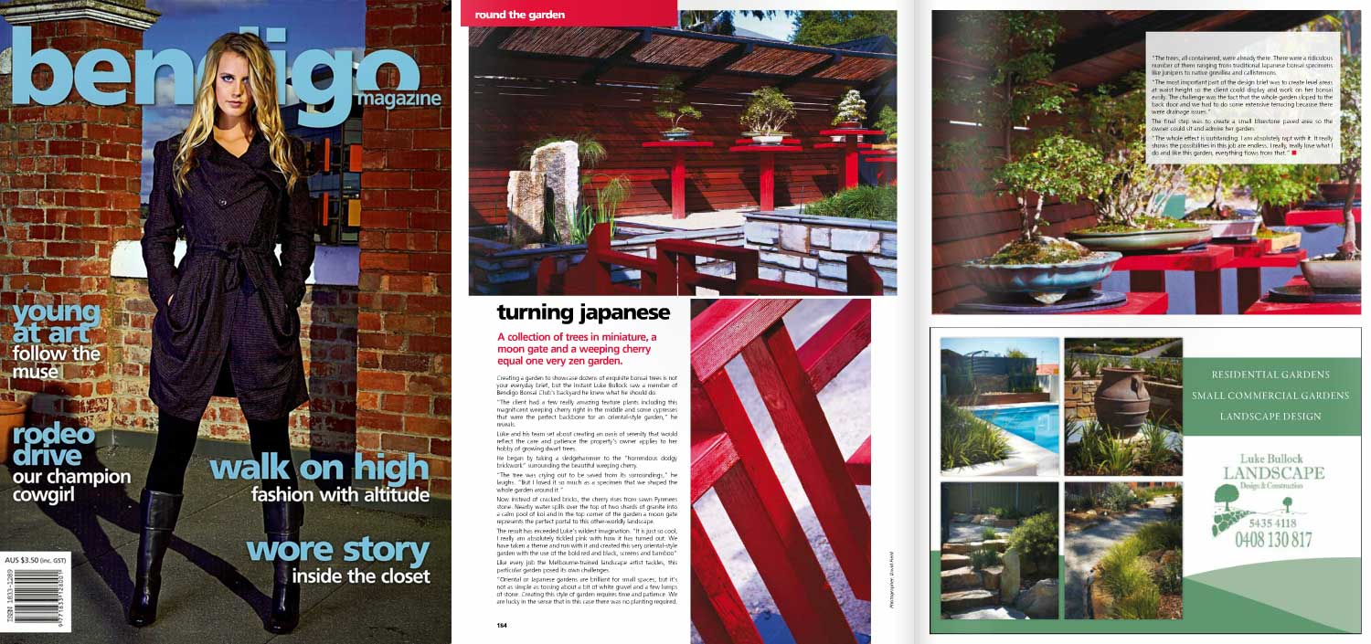 Bendigo Mag Issue 23 Landscapers in Bendigo create a stunning Japanese garden